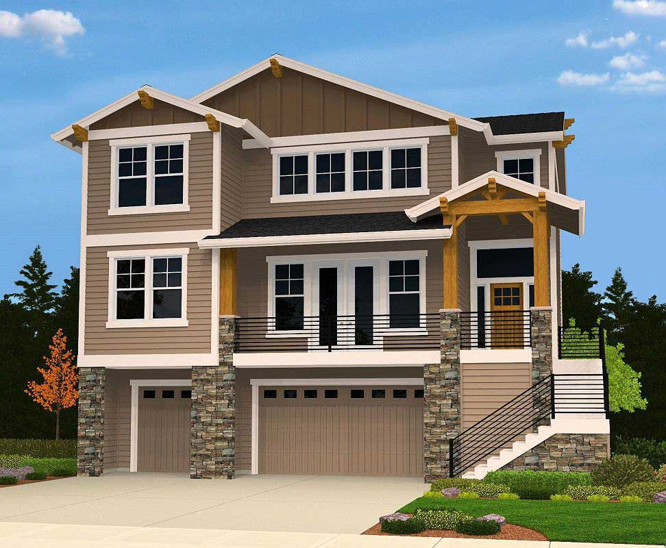 4 Bed Modern for an Uphill Lot | House plans, New house ...