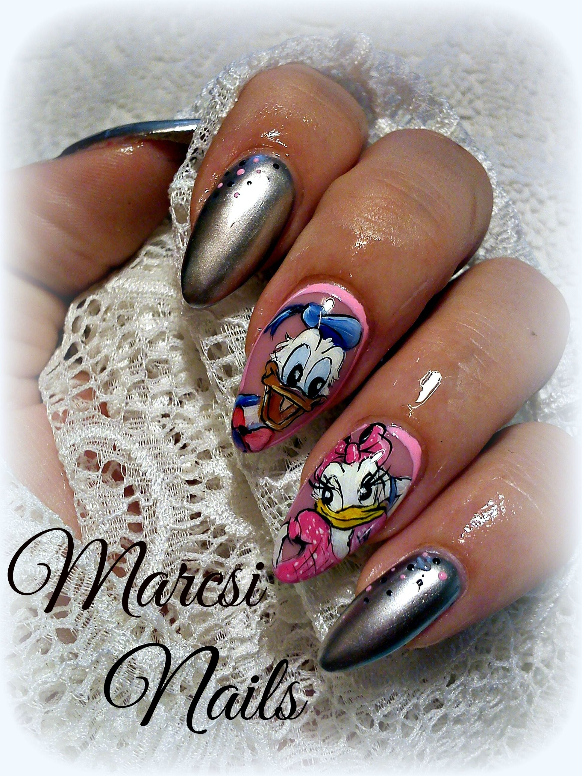 Daisy and Donald duck nail art with chrome gel lack, Cartoon nail ...