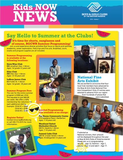 Newsletter  Boys  Girls Clubs Of The Western Reserve  Office