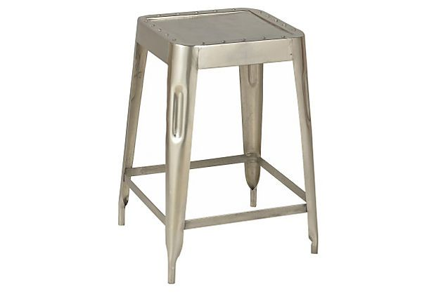 "new kitchen stools in polished nickel, 24"" Albert Stools, Set of 4 on OneKingsLane.com"