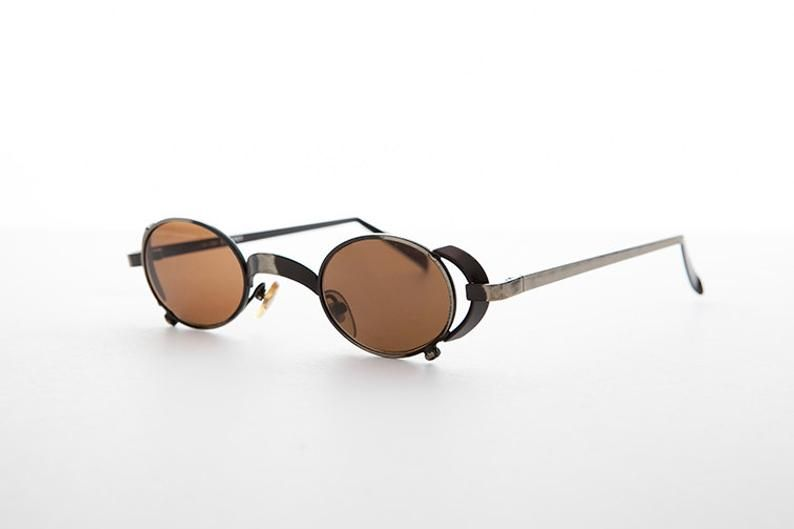 Goth oval steampunk vintage sunglasses with side shields