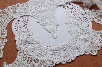 Width 17 Cm white color embroidery lace trim for wedding dress and wedding veil decoration ,7 yds a lot