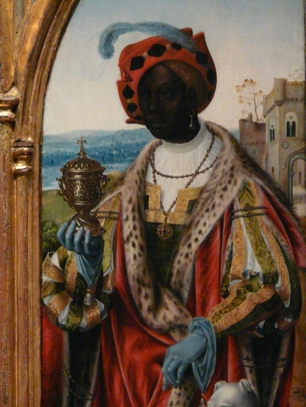 A FLEMISH PAINTING OF THE WISE AFRICAN KING IN THE ...