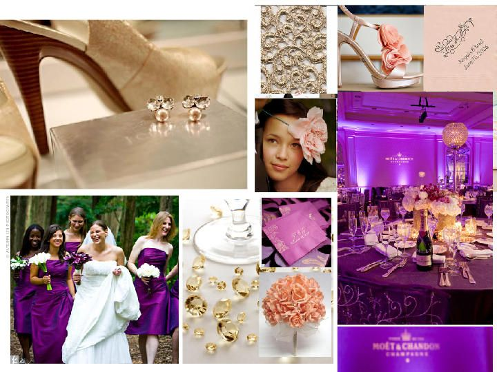 Elegant Gold And Purple With Peach Combo Pantone Wedding