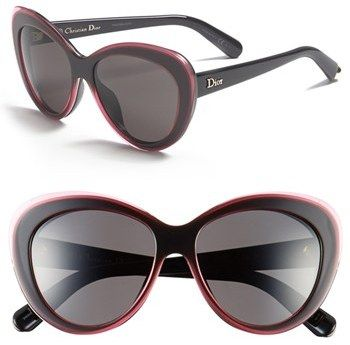 $420, Charcoal Sunglasses: Christian Dior Dior Promesse 1 55m Cat Eye Sunglasses. Sold by Nordstrom.