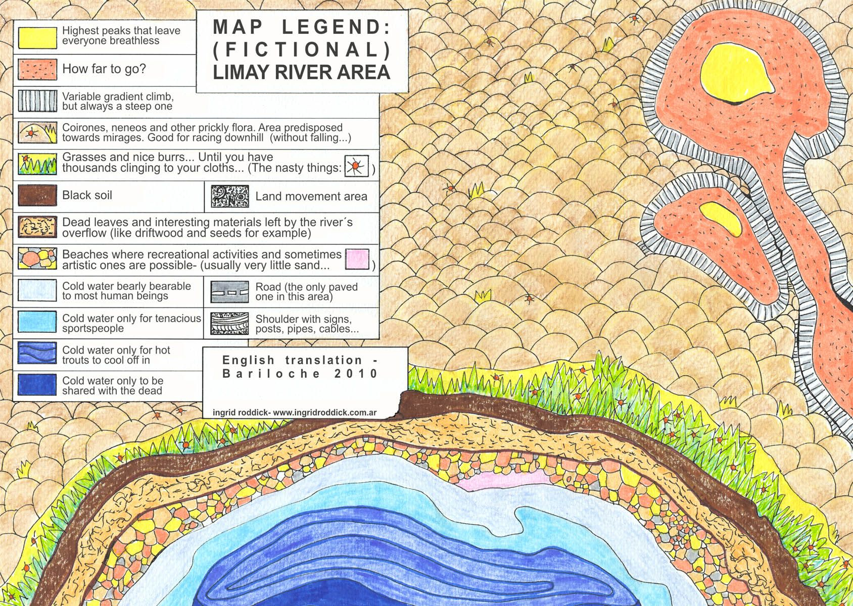 Detail Of Map Legend Fictional Limay River Area Markers And Crayons On Paper Ingrid