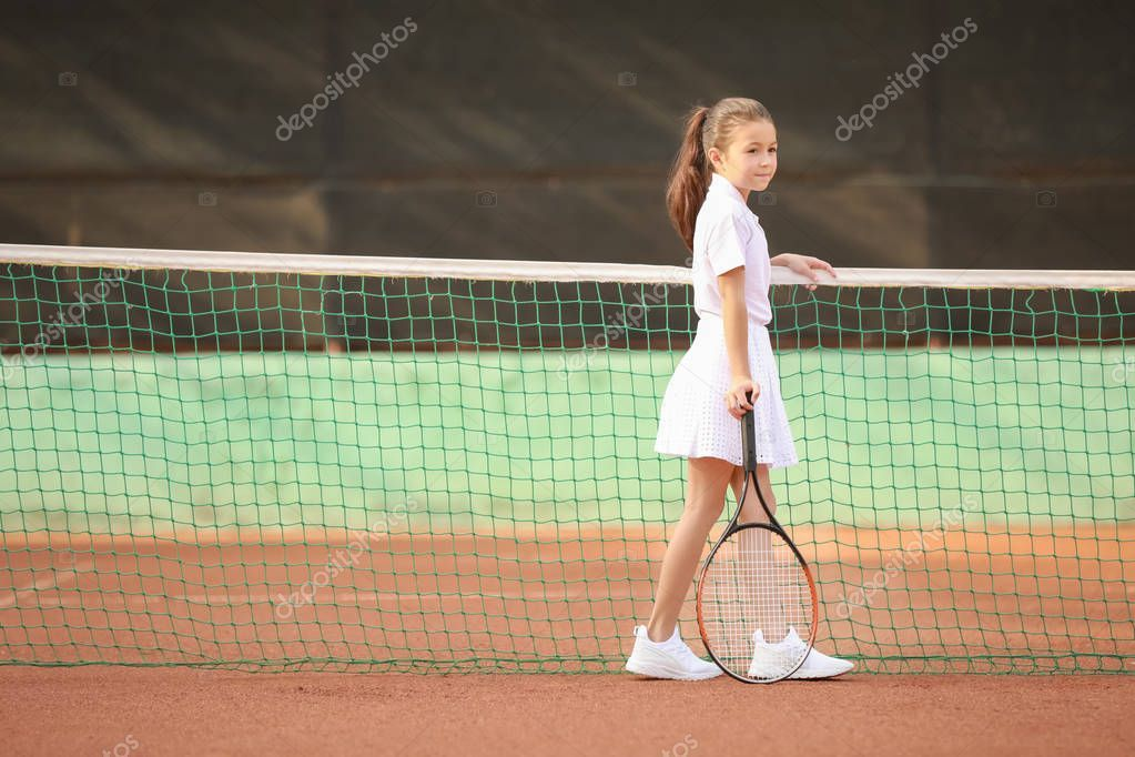 Little Girl Playing Tennis On Court Stock Photo Aff Tennis Playing Girl Photo Ad In 2020 Stock Photos Photo Little Girls