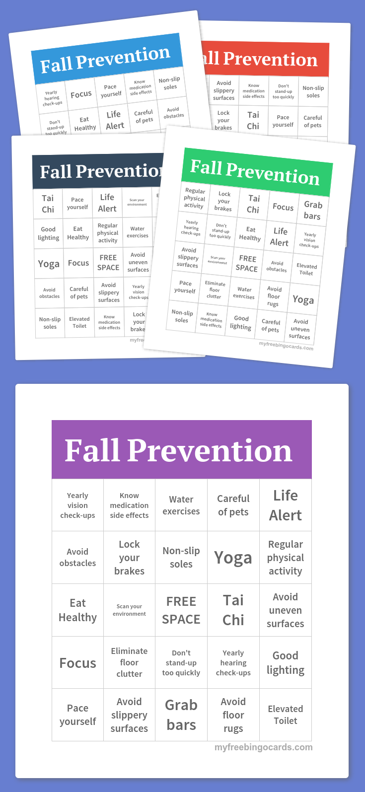 Fall Prevention Bingo | COTA ~ Group Activities | Free bingo