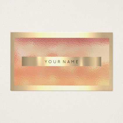 Champaign gold frame metallic ombre peach coral business for Uiuc business cards