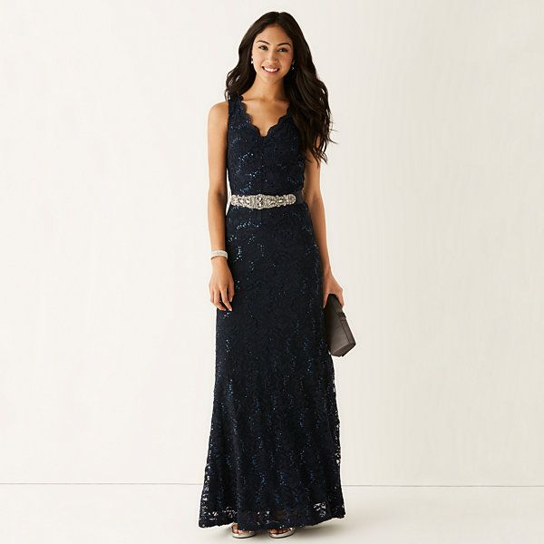 My Michelle® Sleeveless Allover-Lace Long