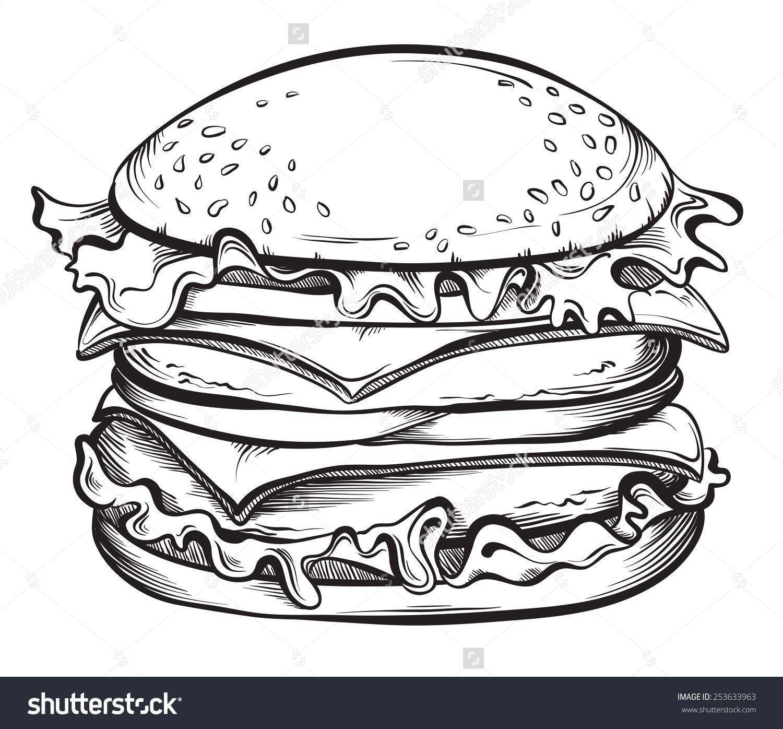 Drawn Burger 16 Jpg 1500 1396 Desenho De Hamburguer
