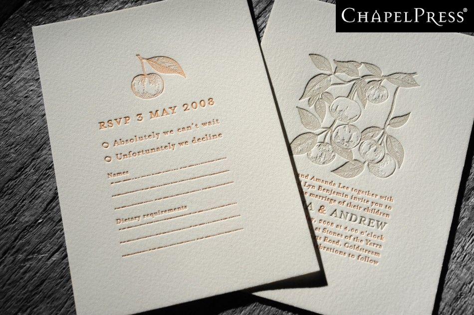 Letterpress printing melbourne australia - Chapel Press - Wedding Invitations - Business Cards - Design - Amelia