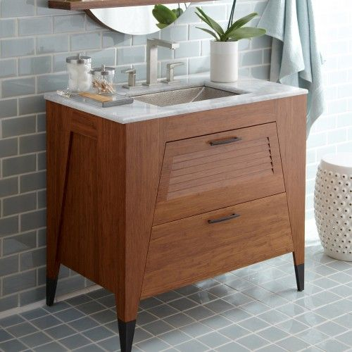Slatted vanity bamboo vanity mid century vanity - Mid century modern double bathroom vanity ...