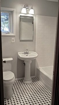 Gray Walls Black And White Mosaic Tile Floors Simple Pedestal Sink No Wall Tile Tile Bathroom Traditional Bathroom Bathroom Floor Tiles