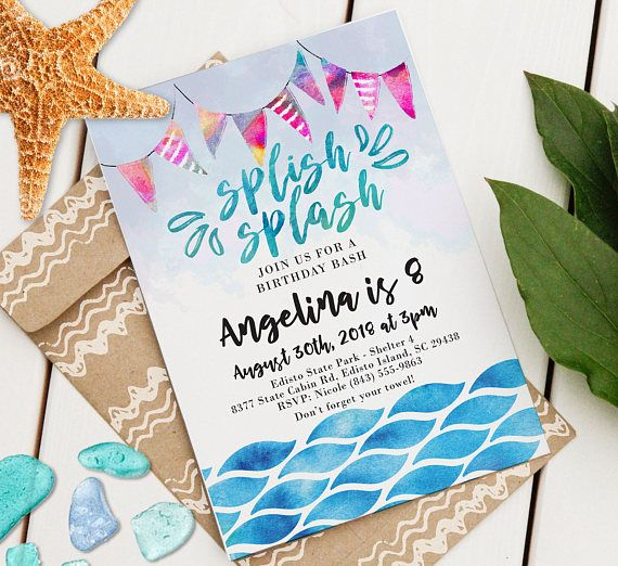 Instantly Download This  X  Splish Splash Event Invitation And