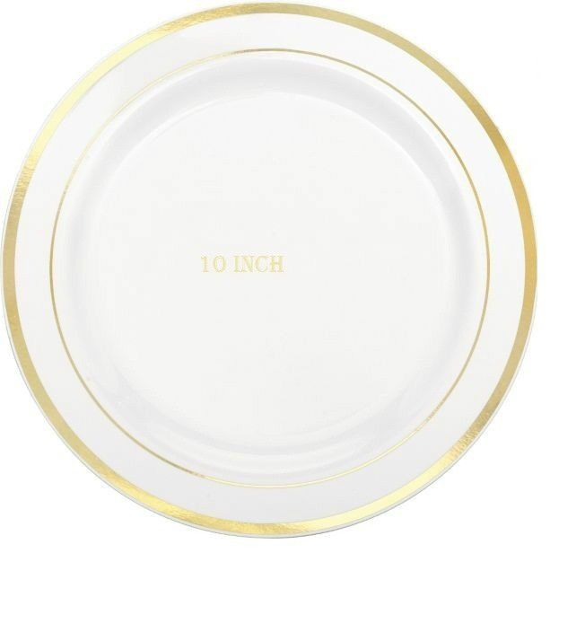 10u0027u0027 Dinner / Wedding / Party Disposable Plastic Plates white With Gold Rim | Plastic plates Garden weddings and Gold  sc 1 st  Pinterest & 10u0027u0027 Dinner / Wedding / Party Disposable Plastic Plates white With ...
