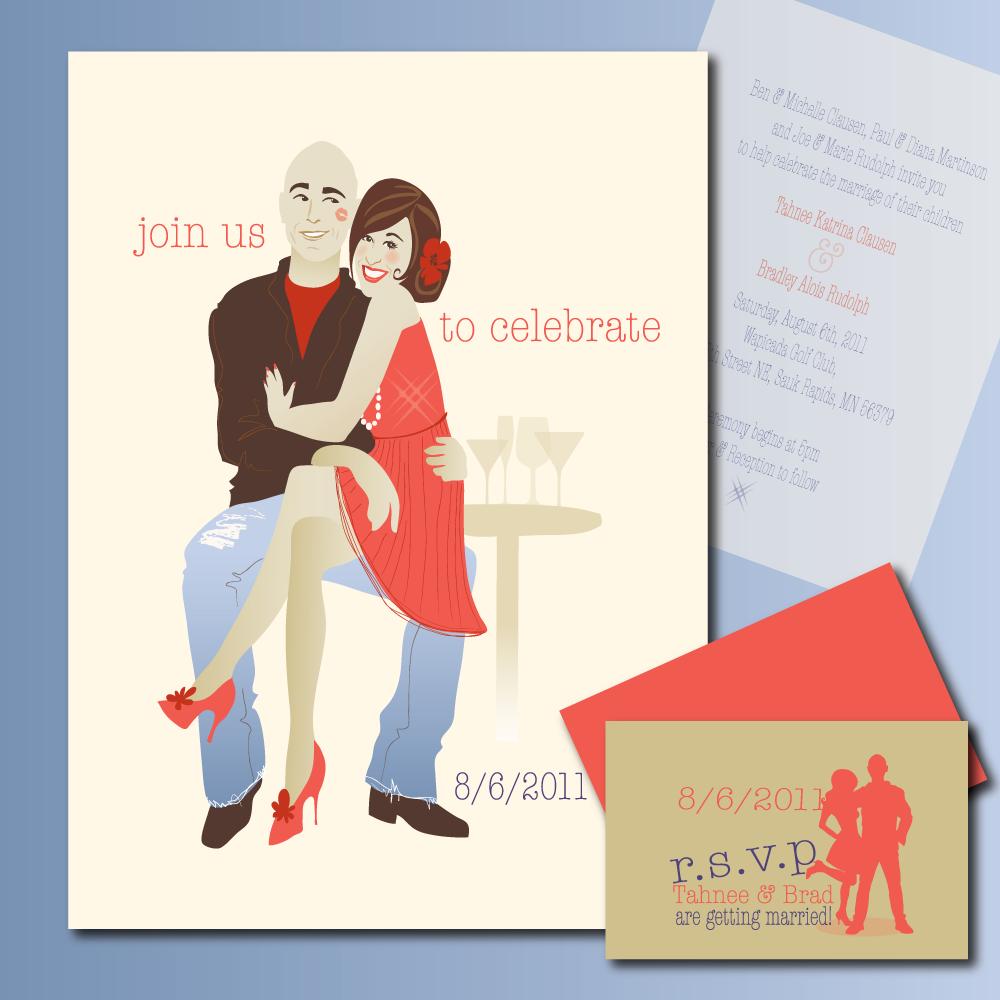 brand & tahnee: custom wedding invitation illustratioin ...
