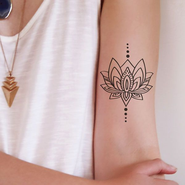 lotus temporary tattoo tattoo ideen t towierungen und familien tattoos. Black Bedroom Furniture Sets. Home Design Ideas