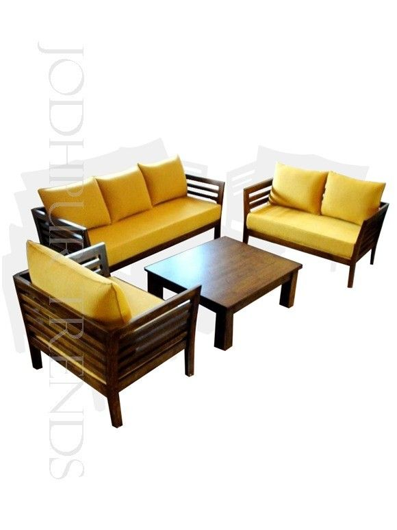 This Sheesham Wood Sofa Set Is Made In Walnut Light Polish