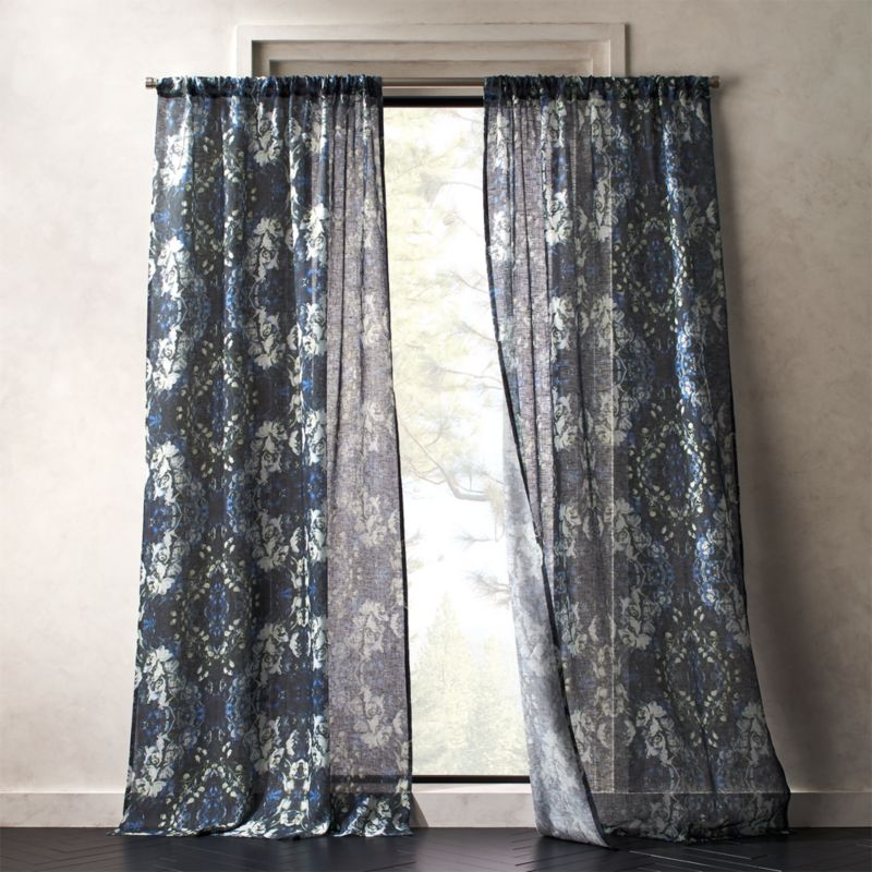Storm Floral Print Curtain Panel Printed Curtains Panel