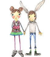Natalie Sorrentino | Illustration | Milwaukee | Greeting Cards, friends, Easter, bunny, baby carrier, siblings