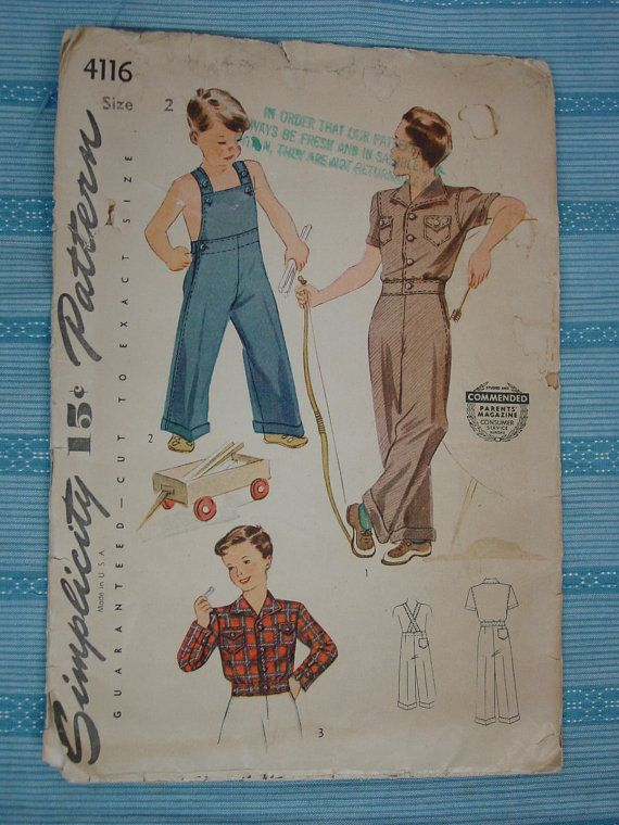 Vintage Pattern 1940\'s Simplicity No.4116 Overall and Lumber Jacket ...