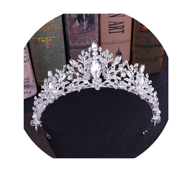 Baroque blue crystal heart bridal tiaras crowns rhinestone