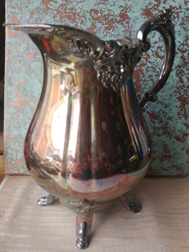Wallace Baroque Silver Plate Water Pitcher Vintage Wallace Baroque Silver Plate Baroque Water Pitchers