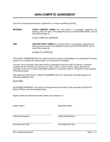 General Non Compete Agreement Template Sample Form Biztree