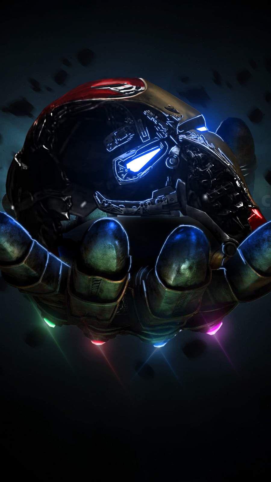 Thanos Infinity Gauntlet Holding Iron Man Mask Iphone Wallpaper Marvel Wallpaper Avengers Wallpaper Avengers