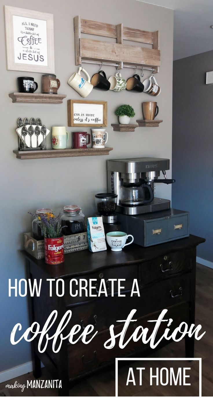 how to create a diy coffee station at home coffee bar and create. Black Bedroom Furniture Sets. Home Design Ideas