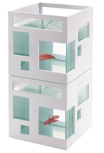 New Contemporary White Aquarium Fishhotel Fishbowl Fish Tank Goldfish Pet House Pet Supplies