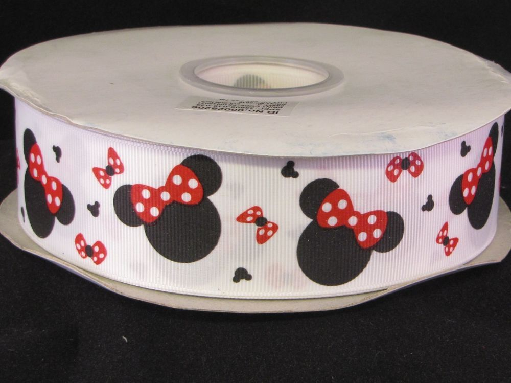 5 Yard - 1 1/2 inch Minnie Mouse on White Grosgrain Ribbon