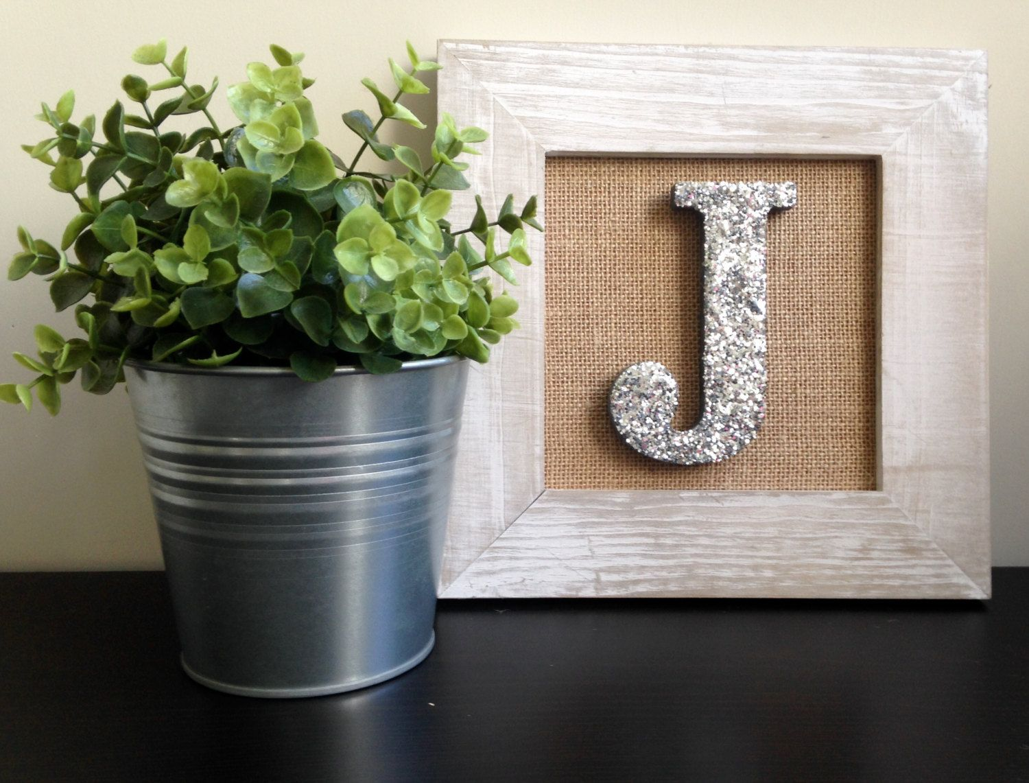 Framed Letter for Nursery Wall Art - White frame and Silver Glitter ...