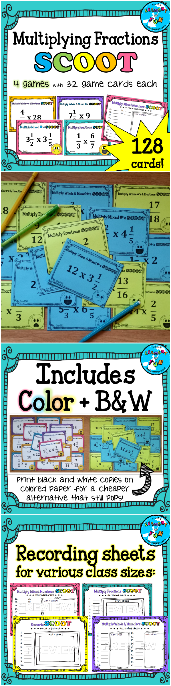 SCOOT Game Bundle: Multiplying Fractions, Mixed numbers, and Whole ...