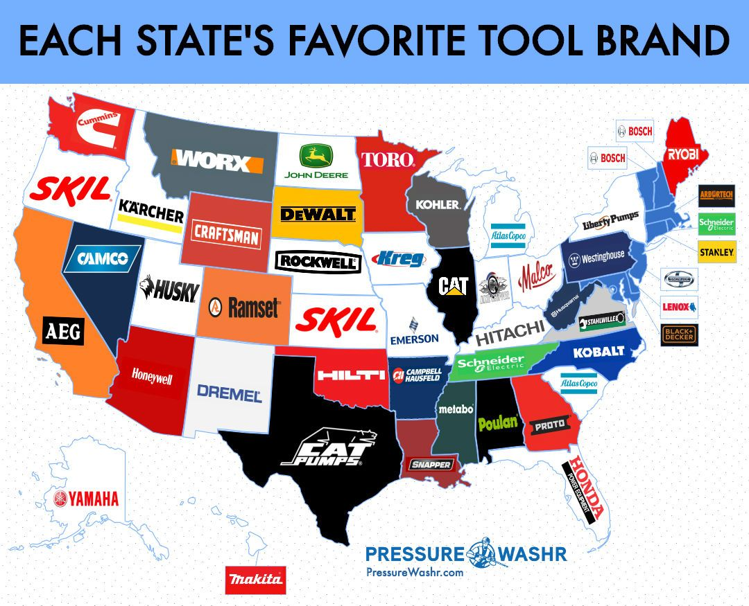 Each States Favorite Tool And Equipment Brand With Images
