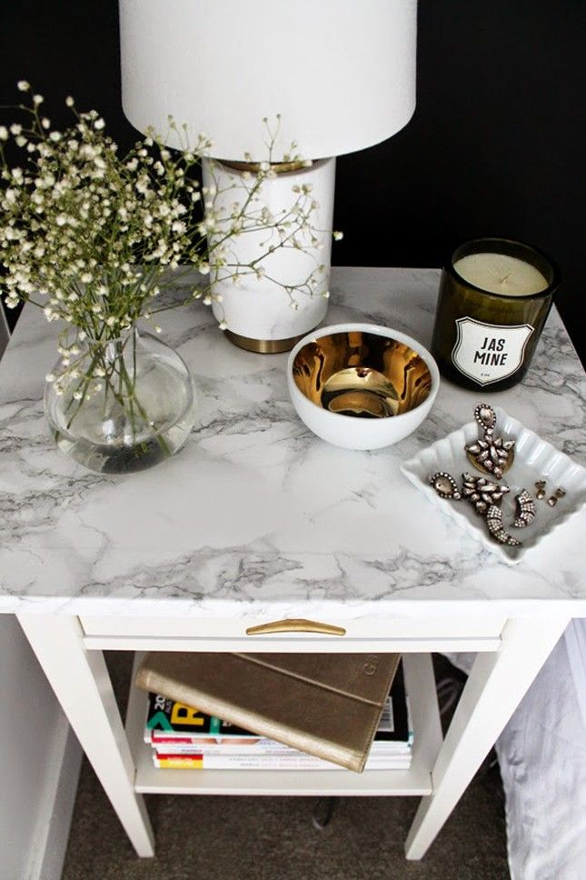Upgrade an IKEA night stand with some contact paper to make this
