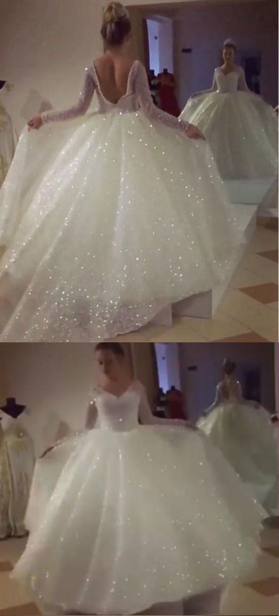 b00a93bc sparkly wedding dresses, long sleeves bridal gowns, backelss white sparkly  dresses for women