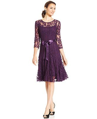 MSK Illusion Floral Lace Dress - Dresses - Women - Macy's