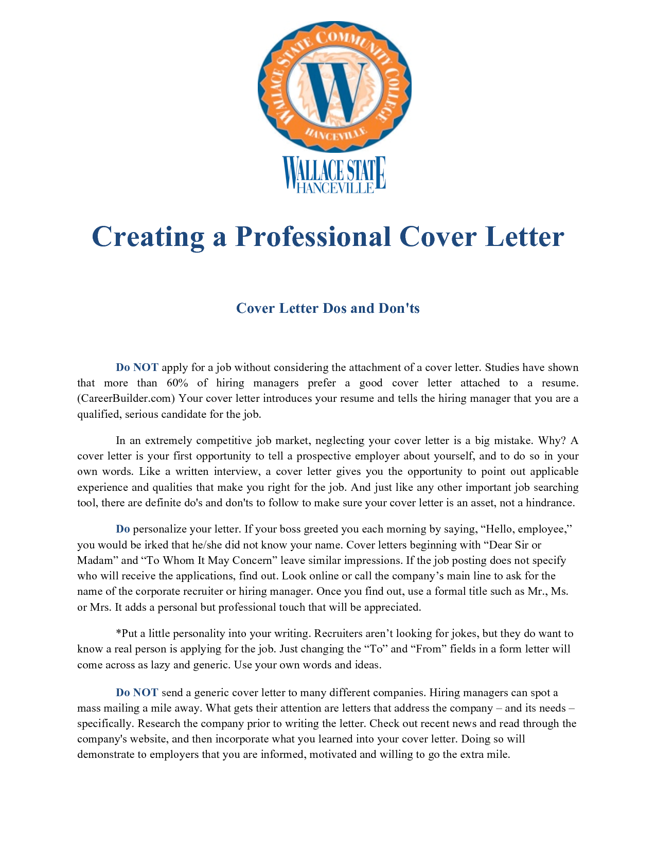 career builder cover letter sample