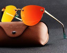 4e8a88716 Moderné elegantné dámske slnečné okuliare v oranžovo-zlatej farbe ...