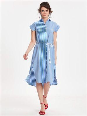 Belt Striped Poplin Shirt Dress Lc Waikiki Casual Dress Dresses With Sleeves Shirt Dress