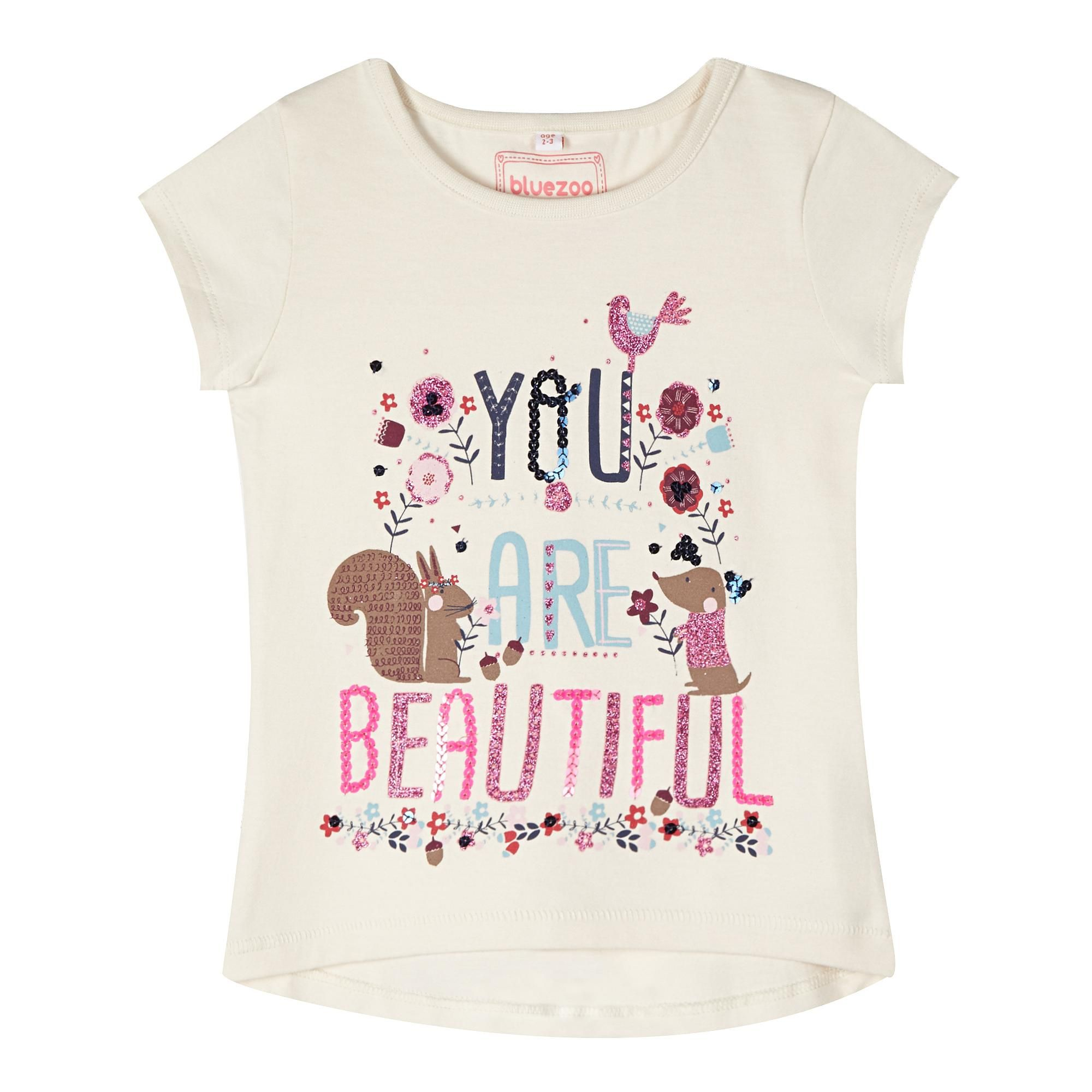 Girl 39 S Natural 39 Beautiful 39 Print T Shirt Kids