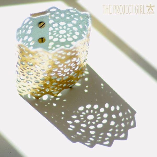 Diy Lace Cut Gold Leather Cuff Cricut Design Space Star
