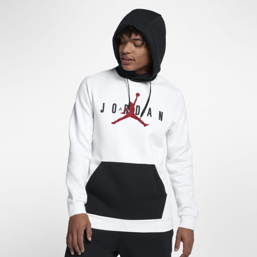 51825252ec3b57 Jordan Jumpman Air Men s Fleece Pullover Hoodie Size 4XL (White)