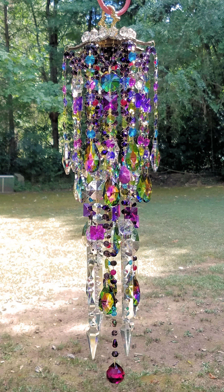 Crystal Wind Chime Antique Crystal Wind Chime Rainbow Wind Chime Crystal Art Garden Art Multi Color Wind Chime Crystal Wind Chimes Wind Chimes Crystal Art
