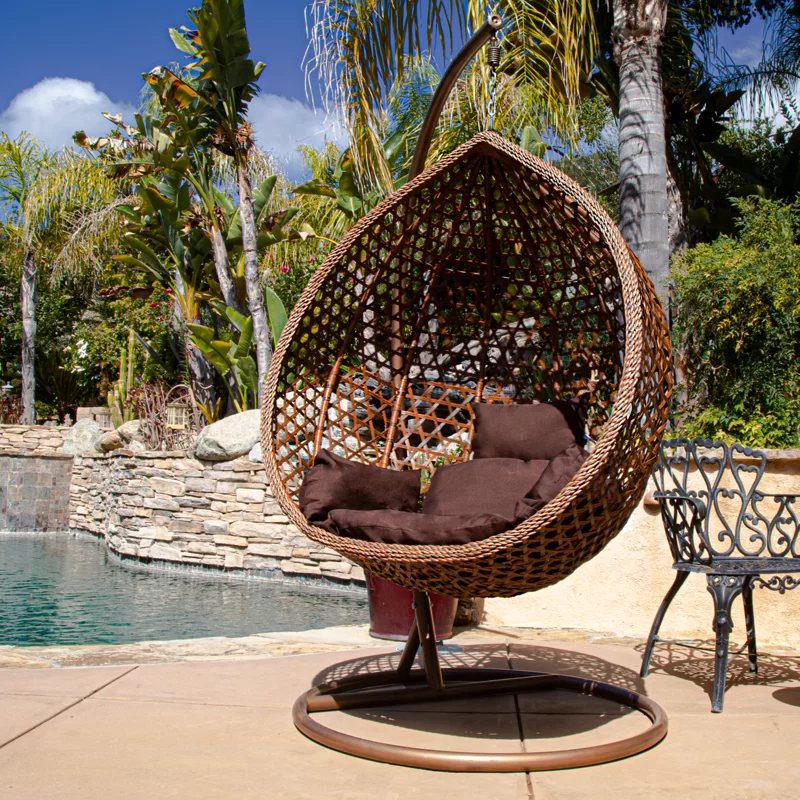 Bungalow Rose Giovanni Patio Outdoor Wicker Plastic Swing Chair