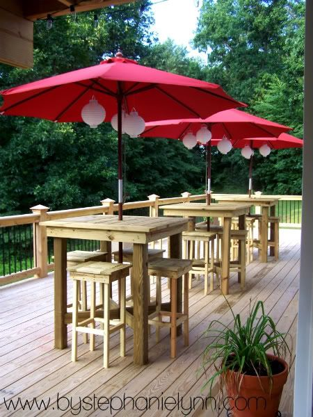 #springintothedream The View from the Porch: Red umbrellas with lanterns.  Wonder what time - Homemade Paper Pinwheel Ornaments Red Umbrella, Happy Hour And Porch