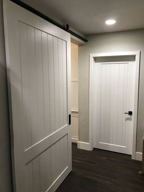 Shaker Style Barn Door Painted White Custom Made By Patinayard