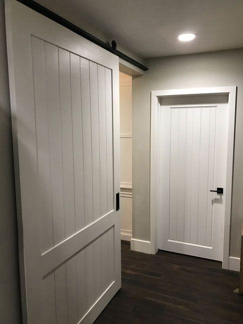 Shaker Style Barn Door Painted White Custom Made By Patinayard Com Shaker Interior Doors Interior Barn Doors Diy Barn Door Designs